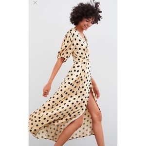 Polka Dot Cream Satin Dress with Puffy Sleeves